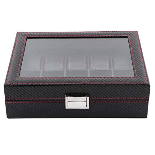 Caja de presentación de reloj de 10 ranuras, estuche de viaje organizador de almacenamiento de joyería de fibra de carbono, con ventana transparente de diseño de moda, caja de presentación de joyería