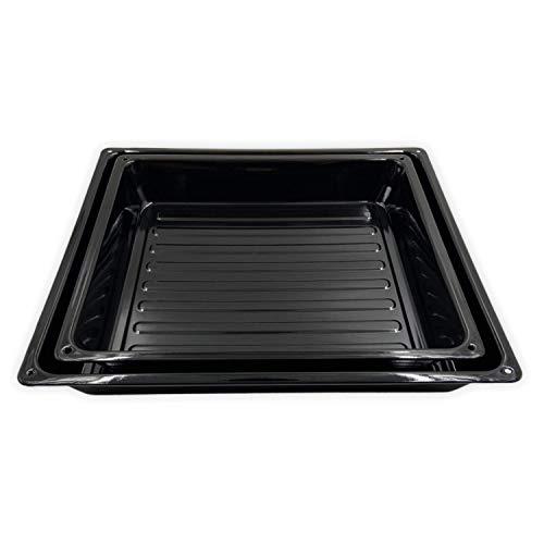 Backblech Set - 2-teilig - Emaillierte Fettpfanne Kuchenblech Bratblech Ofenblech Pizzablech Backform, 42 х 38 х 5,5 cm und 37 x 33,5 x 5,5 cm, Extra Tief, Stapelbar, Rechteckig