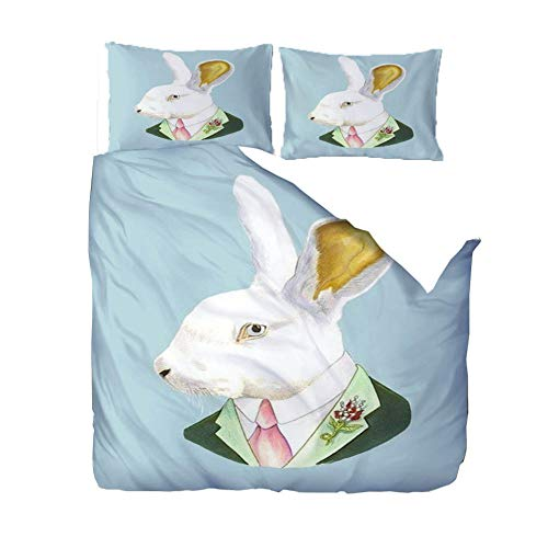 MEKVF Bedding Double Bed Duvet Cover 200x200cm Mr. Animal Rabbit 3D Bedding Duvet Printed Quilt Cover With Zipper Soft Microfiber Anti-Mite Bedding With 2 Pillowcases
