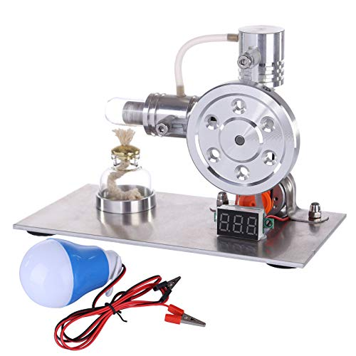 Oeasy Stirlingmotor Bausatz, L-Shaped Metall Stirling Motor Generator Modell Stromgenerator Motor mit Voltage Display und Glühbirne, Geschenk für Technikbegeisterte und Kinder