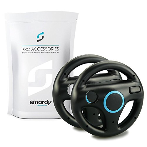 SMARDY 2X Carreras/Racing Volante Steering Wheel Negro para Nintendo Wii y Wii U Remote