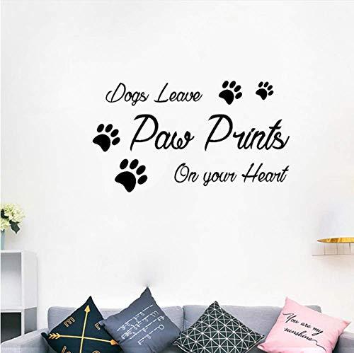 Decoratieve Stickers Honden Laat Paw Prints Op Je Hart PVC Home Decor Muursticker 63Cmx35Cm