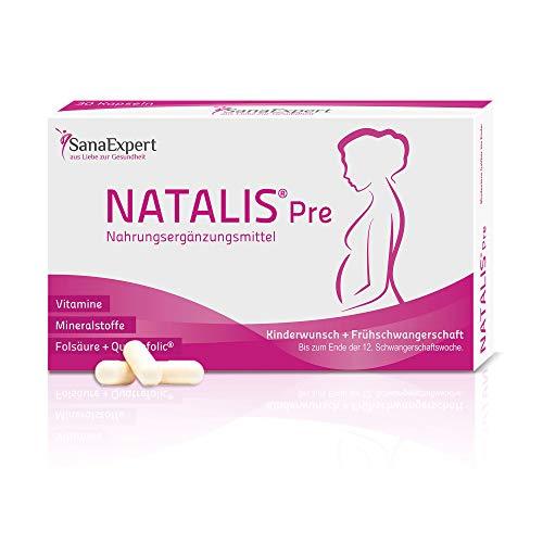 SanaExpert Natalis Pre, Nahrungsergänzung bei Kinderwunsch und Frühschwangerschaft mit 800 µg Folsäure, Quatrefolic, Eisen & Vitaminen, Monatspackung à 30 Kapseln (24 g)