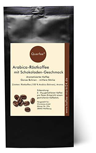 Querfee - Kaffee mit Schokolade Geschmack - Arabica Röstkaffee mit Schokolade Aroma - Ganze Bohnen - 75 g