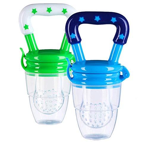 Fruchtsauger für Baby, 2 Stück Schätzchen Schnuller Gemüse sauger für Schätzchen Schnuller Beißring für Obst Gemüse Brei (L(12 Monaten Over), Blau und grün-)