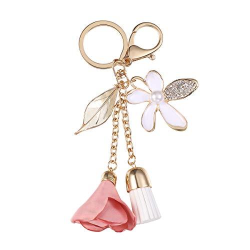 Fenical Quaste Schlüsselanhänger Schlüsselbund Kristall Taschenanhänger mit Blume Blätter für Schlüssel Handtasche Taschen Geldbörse Rucksack Anhänger Zubehör (Rosa)