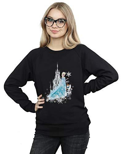 Disney Damen Frozen ELSA and Olaf Winter Magic Sweatshirt Schwarz Large