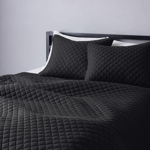 Amazon Basics Cotton Jersey Quilt Set - Full/Queen, Black