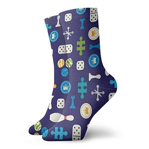 BJAMAJ Unisex Sokken Diverse Oude Bordspel Stukken Interessant Polyester Crew Sokken Volwassene Sokken Katoen