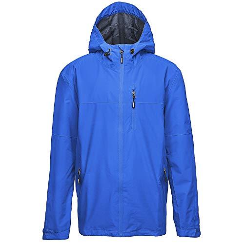 33,000ft Regenjacke Herren Wasserdicht Outdoorjacke Leichte Freizeitjacke Packbare Windjacke Fahrrad Regenmantel mit Kapuze Hell Blau 2XL