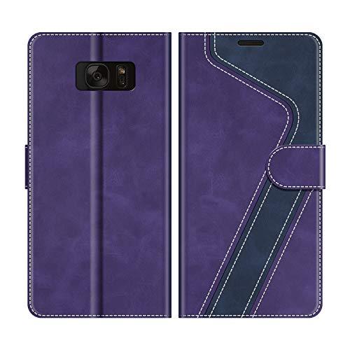 MOBESV Custodia Samsung Galaxy S7, Cover a Libro Samsung Galaxy S7, Custodia in Pelle Samsung Galaxy S7 Magnetica Cover per Samsung Galaxy S7, Viola/Blu Scuro