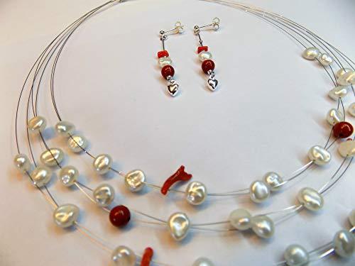 Perle acqua dolce barocche rametti corallo rosso argento 925 collana orecchini