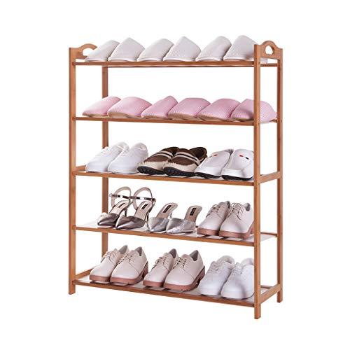 Yyqx Zapatera Estante de Zapatos, Ideas de Moda Estante de Zapatos 5 Niveles Almacenamiento de Madera en el Pasillo Unidad de Muebles Organizador de Zapatos Estante de bambú Zapatero