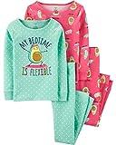 Carter's Girls' 4-Piece Snug Fit Cotton Pajamas PJs (Mint/Pink Avocado, 12)