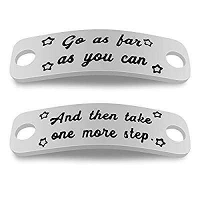 Gift for Runner Trainer Tags Go As Far As You Can and Then Take More Step Shoelace Tag Shoelace Charm Fitness Gym Gift Get Fit Running Runners Gift Inspirational Gift for Girl Women Marathon Gift