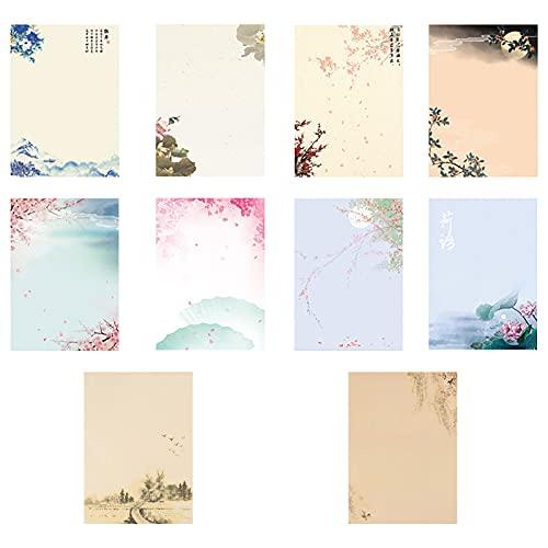 Briefpapier Motivpapier, 80 Stück Schreibpapier Set Briefpapier Motivpapier Vintage Schreibpapier, Briefpapier mit Blumenmotiv zum Schreiben Bedrucken