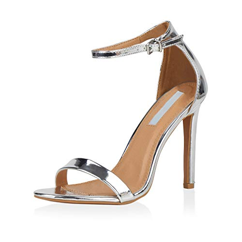 SCARPE VITA Damen Sandaletten High Heels Elegante Abendschuhe Basic Stilettos 157809 Silber 39