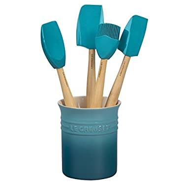 Le Creuset of America Craft Series 5Piece Utensil Set with Crock - Caribbean
