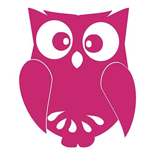 kleb-Drauf | 1 Eule | Pink - glänzend | Autoaufkleber Autosticker Decal Aufkleber Sticker | Auto Car Motorrad Fahrrad Roller Bike | Deko Tuning Stickerbomb Styling Wrapping