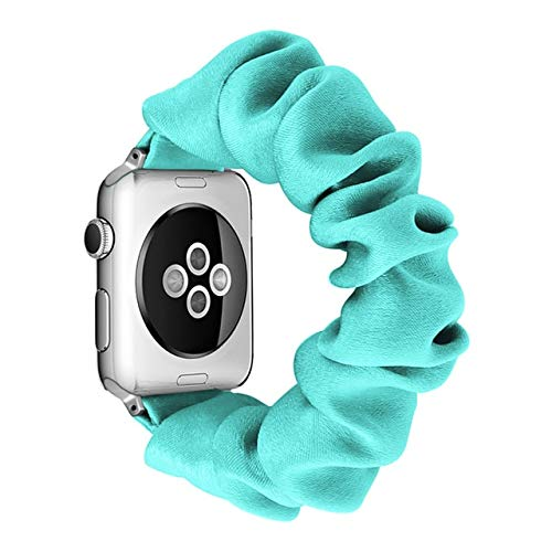 CHECHE Scrunchie Correa de nailon elástica para Apple Watch Band 6 5 4 3 2 Se correa de reloj para mujer Sport Loop para Iwatch Series 38 mm, 40 mm, 42 mm, 44 mm, 44 mm, verde menta, 38 mm o 40 mm, Sm