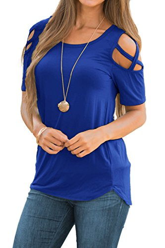 Adreamly Women's Casual Summer Short Sleeve Loose Strappy Cold Shoulder Tops Basic T Shirts Blouses Royal Blue Large