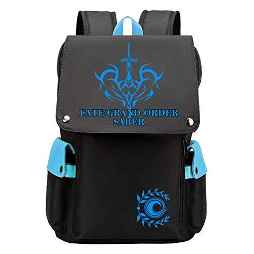 Cosstars Fate Saber Anime Cosplay Backpack Mochilas Escolar Mochila para Portátil 15.6 Pulgadas Bolsa de Escuela