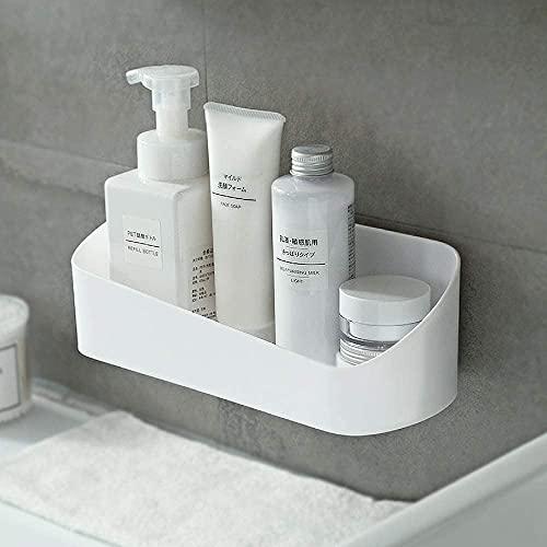 SUNFICON Shower Caddy Adhesive Bathroom Shelf Organizer Wall Mounted Storage Rack No Drilling Shower Shelf Bath Essentials Shampoo Spice Holder 2 Clear Adhesives for Shower Room Bathroom Kitchen White