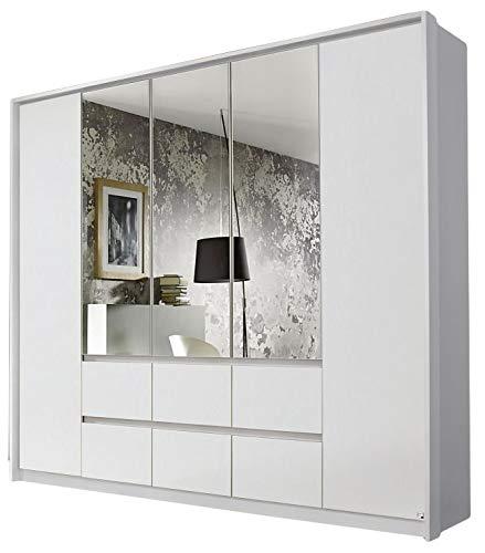 Kleiderschrank Ella 5 Türen weiß B 230 cm mit Push-to-Open-Beschlag Jugend Schlafzimmer Drehtüren Wäsche Spiegelschrank