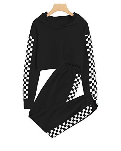 Kids 2 Piece Cute Outfits Checkered Athletic Sweat Suit Girls Crop Tops Hoodies Long Sleeve Pullover Sweatshirts Jogger Sweatpants Tracksuit Activewear Black, 9-10 Years