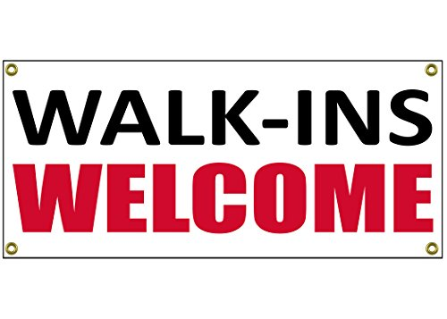 Walk Ins Welcome Banner Retail Store Shop Business Sign 36' by 15' Hair Nails Barber