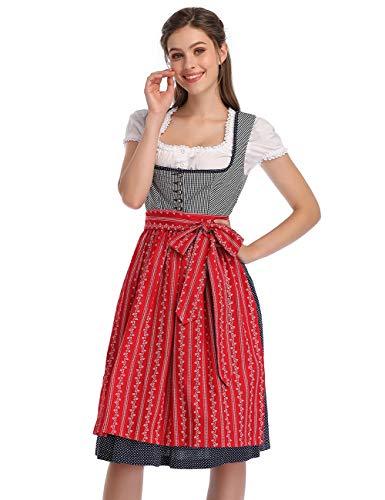 KOJOOIN Trachtenkleid Damen Dirndl Kurz mit Stickerei Exklusives Designer für Oktoberfest - DREI Teilig: Kleid, Bluse, Schürze Rot Blau Dunkelblau 36
