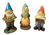 MUAMAX - Juego de 3 figuras de gnomo para jardín de hadas (amarillo)