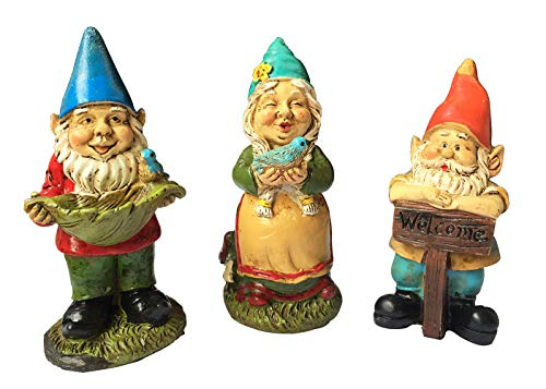 MUAMAX Miniature Garden Gnomes Set of 3 Fairy Garden Gnomes Figurines Fairy Gardens Accessories Suppliers Micro Landscape Bonsai Craft Decor