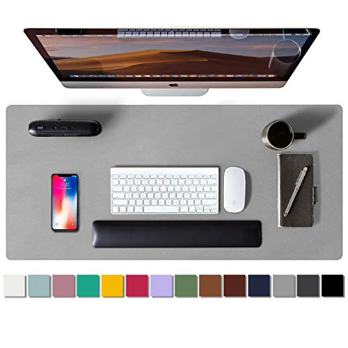 Alfombrilla de escritorio, alfombrilla de ratón, protector de escritorio, papel secante de cuero de PU antideslizante para juegos de oficina/hogar(80cmx40cm, Hellgrau)