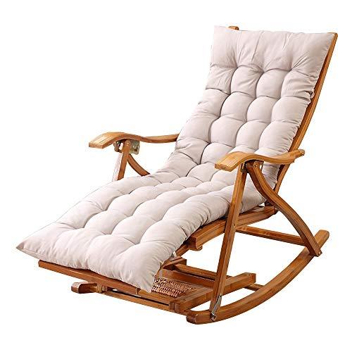 Liegestuhl HAIYU- Outdoor Klappbar, Bambus Schaukelstuhl Garten Sonnenliege Relaxsessel mit Dehnbarer Fußstütze Fußmassage Leisure Siesta Sessel, mit Kissen (Color : Gray)