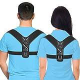 Izzy Comfort Posture Corrector, Back Brace for Men and Women, Comfortable Posture Trainer Clavicle Support, Spinal Alignment, Neck, Shoulder & Back Pain- Adjustable Back Straightener- Black