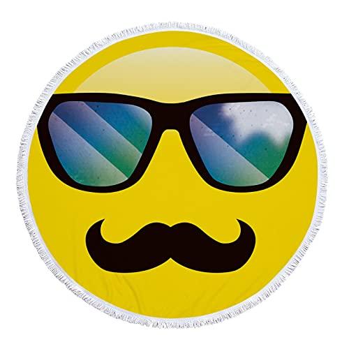 NHhuai Strandtuch Handtuch, weich, hautfreundlich, saugfähig, für Reisen, Dusche, Schwimmen, Camping Rundes Strandtuch Emoji