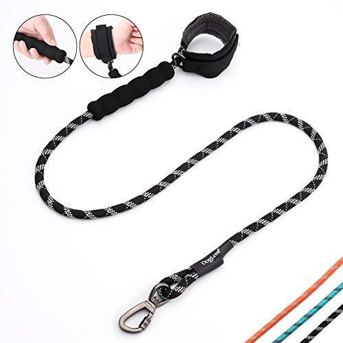 PETTOM Hundeleine Freihand 1.2m Nylon Gepolsterte Handgelenkleine Reflektierendes Seil Für Großen Großen Mittleren Hund (Schwarz)