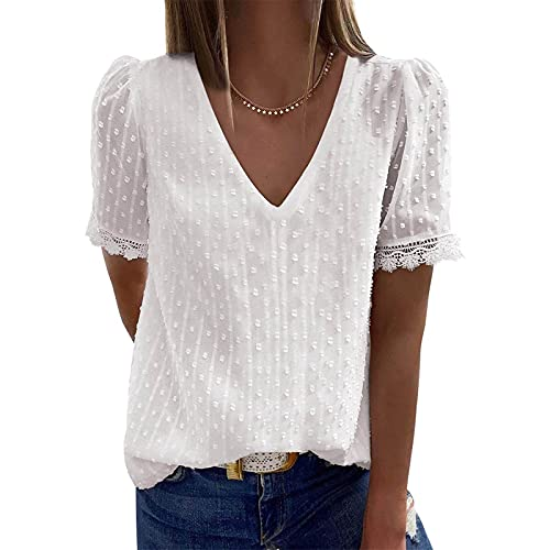 YANFANG Blusas de Mujer Elegantes,Camiseta Casual de Manga Corta con Encaje de Moda para Mujer Top de Color sólido con Cuello en V, S,7-Blanco