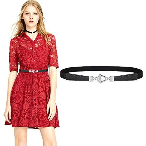 JasGood Gürtel für Kleid Gürtel Damen Stilvoll Gürtel mit Einfacher Stil Einzigartig Design Damengürtel Elegant und Modisch für Kurzer & Langer Rock Kleid 3-Schwarz 80cm(36