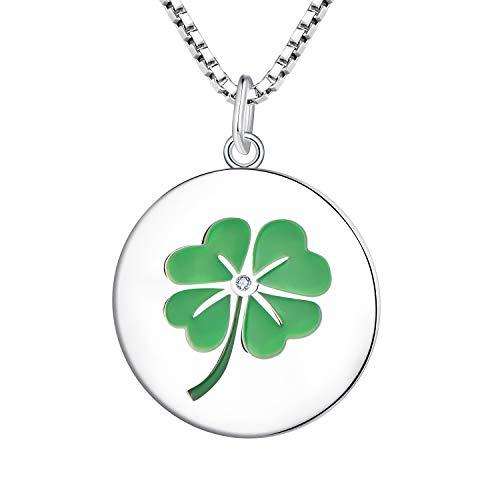 YL trèfle à quatre feuilles collier pendentif, argent sterli