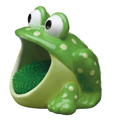 Boston Warehouse 75483 Frog Scrubby Holder with Non-scratch Dish Scrubber, Hand Painted Ceramic