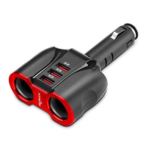 Schwarz QC3.0 Adapter Zigarettenanzünder, Autostecker Adapter Steckdose, 2 Buchsen + 3 QC3.0-USB-Anschlüsse, 12V-24V Zigarettenanzünder Verteiler 10-A-Sicherung, Geschwindigkeit 3 für Smartphones