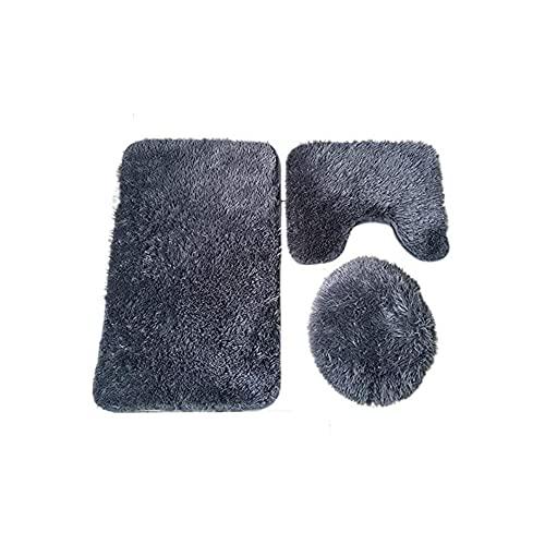 Hacoly Polyester Badematte Set 3 teilig rutschfeste badematten Set weich saugfähig Badteppich (Radvorleger+U-förmige Rug+WC-Abdeckung) - Dunkelgrau