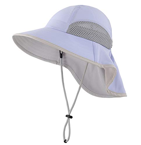 Connectyle Kids Summer Wide Brim UPF 50+ Mesh Sun Hats with Neck Flap UV Sun Protection Bucket Hat Lavender