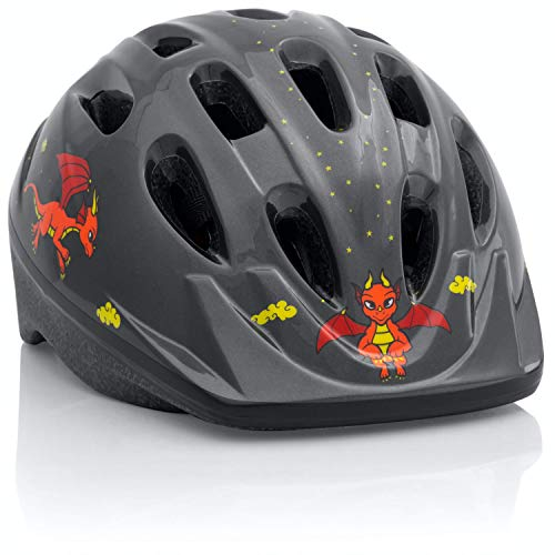 TeamObsidian Kids Bike Helmet [ Dragon ] – Adjustable from Toddler to Youth Size, Ages 3-7 - Durable Kid Bicycle Helmets with Fun Design Boys Will Love - CPSC Certified - FunWave