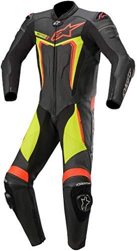 Alpinestars Motegi V3 - Traje de piel para motocicleta, 1 pieza, color negro y amarillo 52