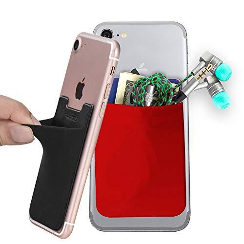 COCASES 2er Smartphone Kartenhalterung, Haftende Handy Kartenhalter Smart Wallet Kartenhülle Kartenetui Kartenfach(Schwarz-Rot)
