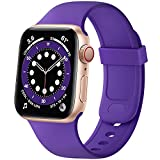 SVISVIPA Sport Bands Compatible with Apple Watch Bands 42mm 44mm, Soft Silicone Wristbands Women Men Replacement Strap for iWatch Series SE/6/5/4/3/2/1,Purple