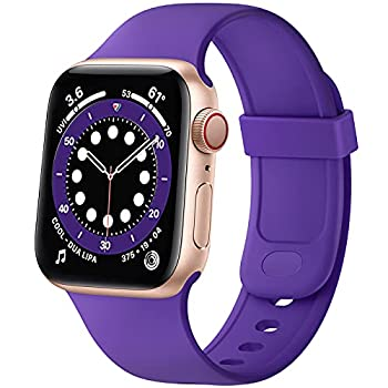 SVISVIPA Sport Bands Compatible with Apple Watch Bands 38mm 40mm Soft Silicone Wristbands Women Men Replacement Strap for iWatch Series SE/6/5/4/3/2/1,Purple